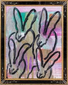 "Hunt Slonem ""4 Play"" Black Outline Bunnies On Rainbow Metallic"
