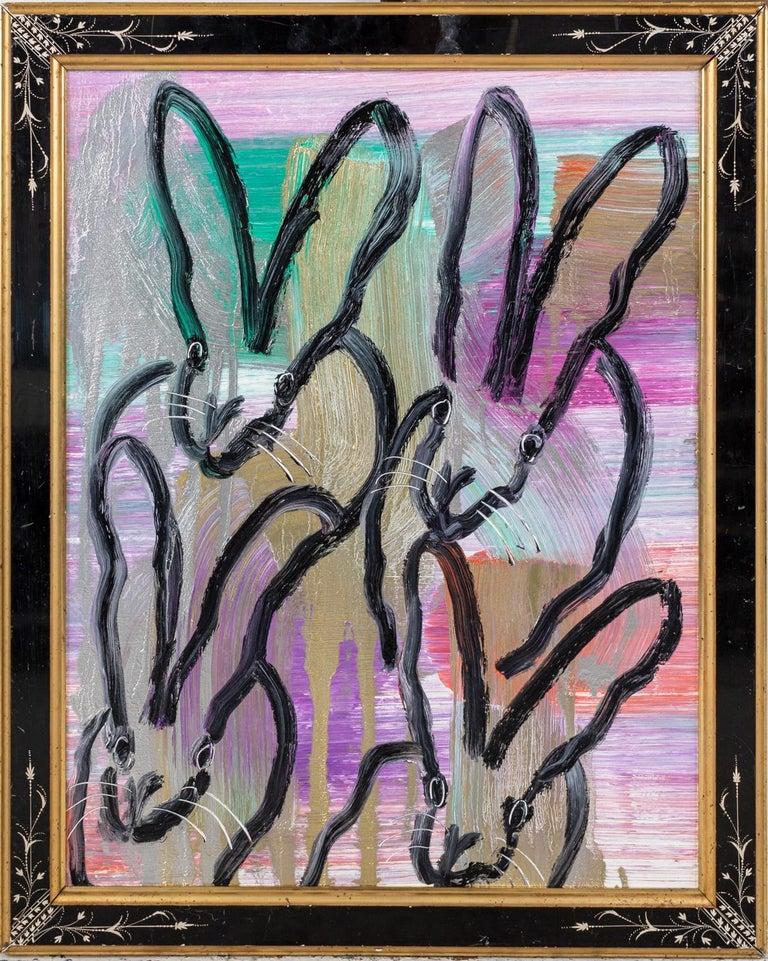 "Hunt Slonem ""4 Play"" Black Outline Bunnies On Rainbow Metallic - Painting by Hunt Slonem"