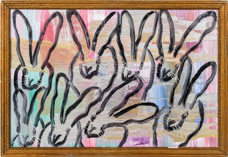 "Hunt Slonem ""7+1 Chinensis"" Multiple Black Outline Bunnies On Multicolor Surface - Painting by Hunt Slonem"