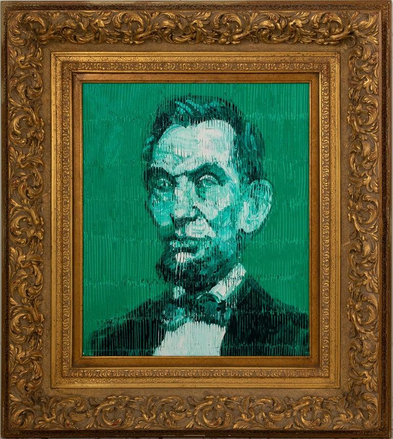 "Hunt Slonem ""Abe Lincoln"" Green Abraham Lincoln  - Painting by Hunt Slonem"