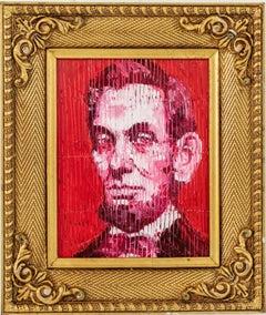 """Hunt Slonem """"Abraham Lincoln Red"""" Portrait"""