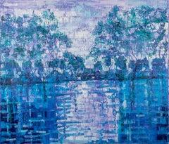 "Hunt Slonem ""Bayou Blue"" Blue Shades Bayou Landscape"