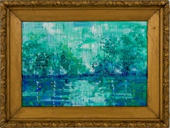 "Hunt Slonem ""Bayou Teche"" Blue & Green Bayou Landscape"