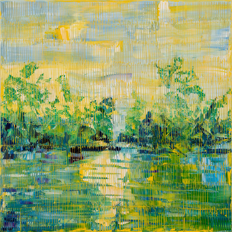 "Hunt Slonem ""Bayou Teche July 18"" Yellow Green Blue Bayou Landscape"