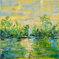 "Hunt Slonem ""Bayou Teche July 18"" Yellow Green Blue Bayou Landscape"