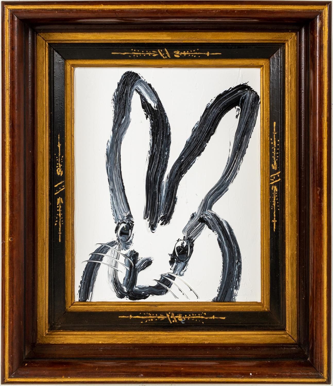 """Hunt Slonem """"Bill"""" Black Outline Bunny On White"""