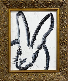Hunt Slonem black and white bunny painting 'Untitled'