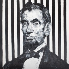 "Hunt Slonem Black and White Striped ""Lincoln"""