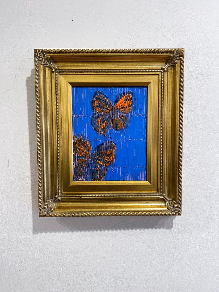 Hunt Slonem blue and orange butterflies painting 'Monarchs' - Contemporary Painting by Hunt Slonem