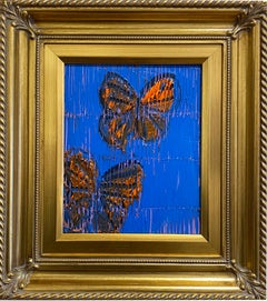 Hunt Slonem blue and orange butterflies painting 'Monarchs'