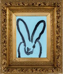 """Hunt Slonem """"Blue Bunny"""" Black Outline Bunny On Blue"""
