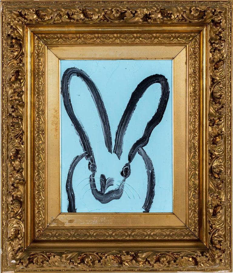 """Hunt Slonem """"Blue Bunny"""" Black Outline Bunny On Blue - Painting by Hunt Slonem"""