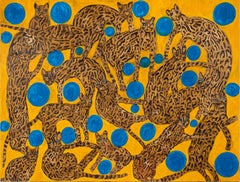 "Hunt Slonem ""Blue Eyes Blue Orbs Ocelots"" Cats"