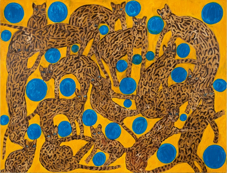 "Hunt Slonem ""Blue Eyes Blue Orbs Ocelots"" Cats  - Painting by Hunt Slonem"