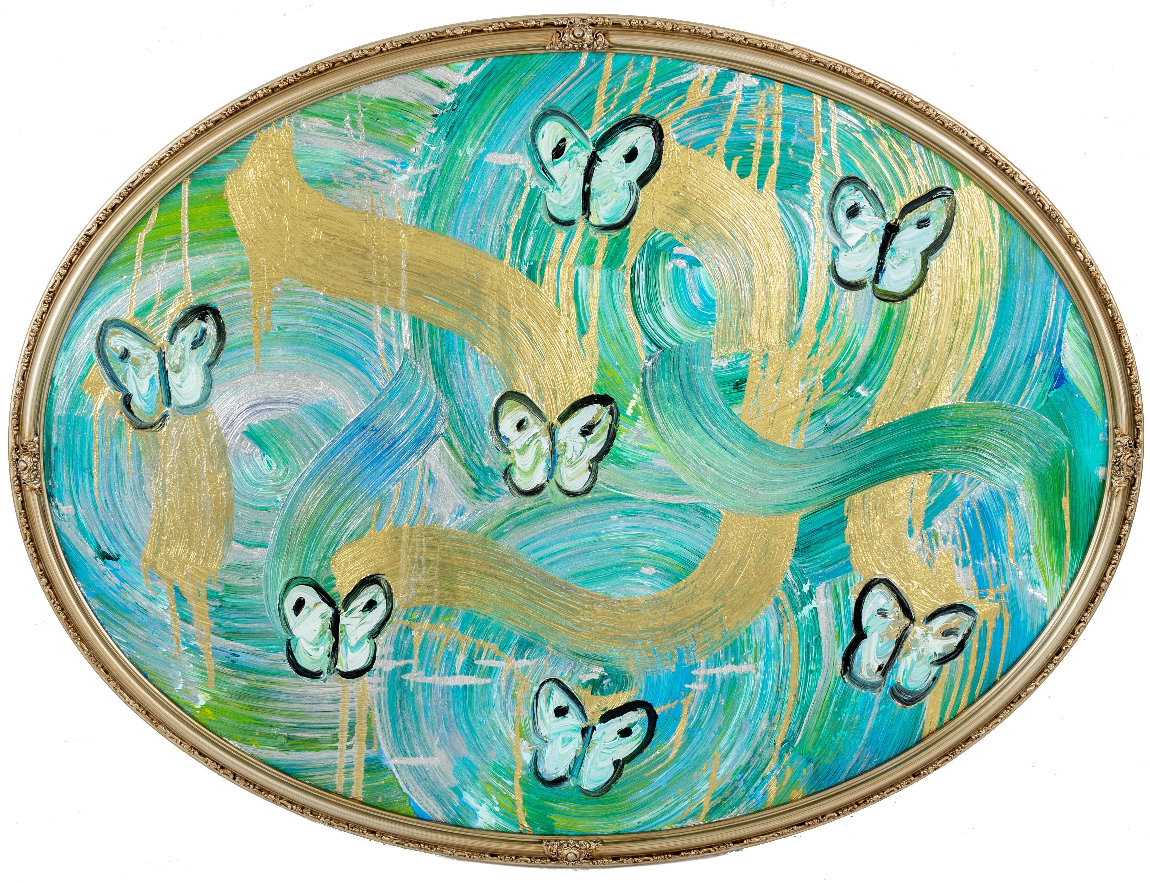 "Hunt Slonem Blue, Green, & Gold ""Butterflies Totem Water Music"""