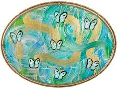 "Hunt Slonem Blue, Green, & Gold ""Butterflies Totem Water Music"""