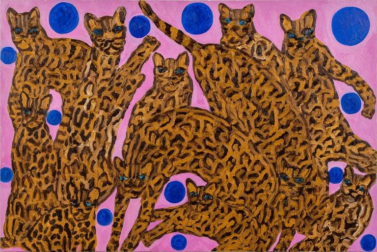 """Hunt Slonem """"Blue Pearl Ocelots"""" Pink & Blue Ocelots  - Painting by Hunt Slonem"""