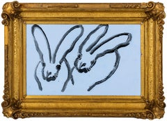 "Hunt Slonem ""Blue Sky"" Light Blue Bunnies"