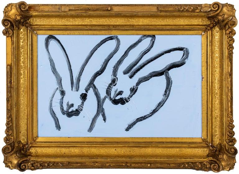 "Hunt Slonem ""Blue Sky"" Light Blue Bunnies - Painting by Hunt Slonem"