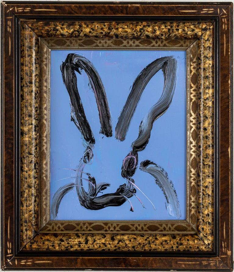 """Hunt Slonem """"Blues"""" Blue Bunny - Painting by Hunt Slonem"""