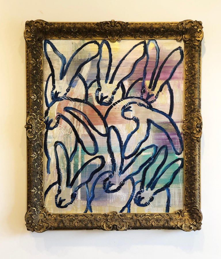 Hunt Slonem bunnies oil painting 'The Blues Again 8' - Contemporary Painting by Hunt Slonem