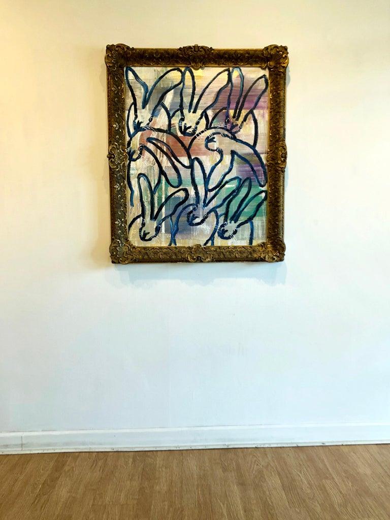 Hunt Slonem bunnies oil painting 'The Blues Again 8' For Sale 1