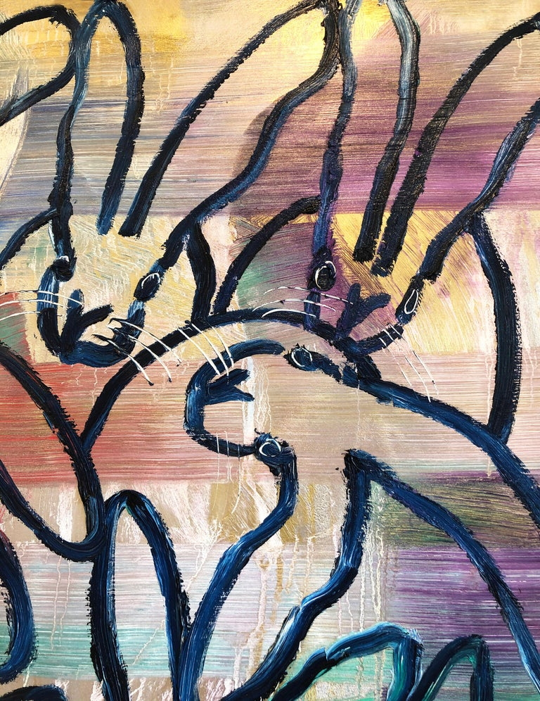 Hunt Slonem bunnies oil painting 'The Blues Again 8' For Sale 2