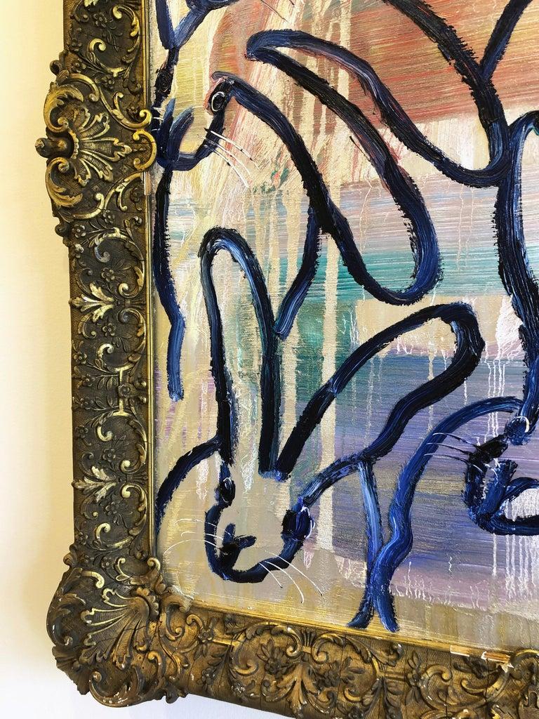 Hunt Slonem bunnies oil painting 'The Blues Again 8' For Sale 4