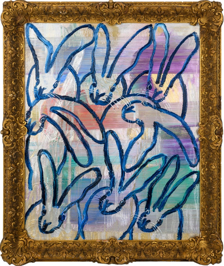 Hunt Slonem bunnies oil painting 'The Blues Again 8' - Painting by Hunt Slonem