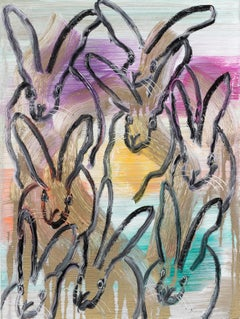 Hunt Slonem bunnies painting 'Chinensis Weds'