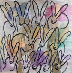 Hunt Slonem bunnies painting 'The Good Earth Chinensis'