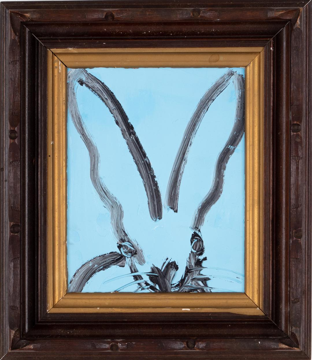 "Hunt Slonem ""Bunny on Blue"", Oil Painting on Wood Board in Antique Frame, 2019"