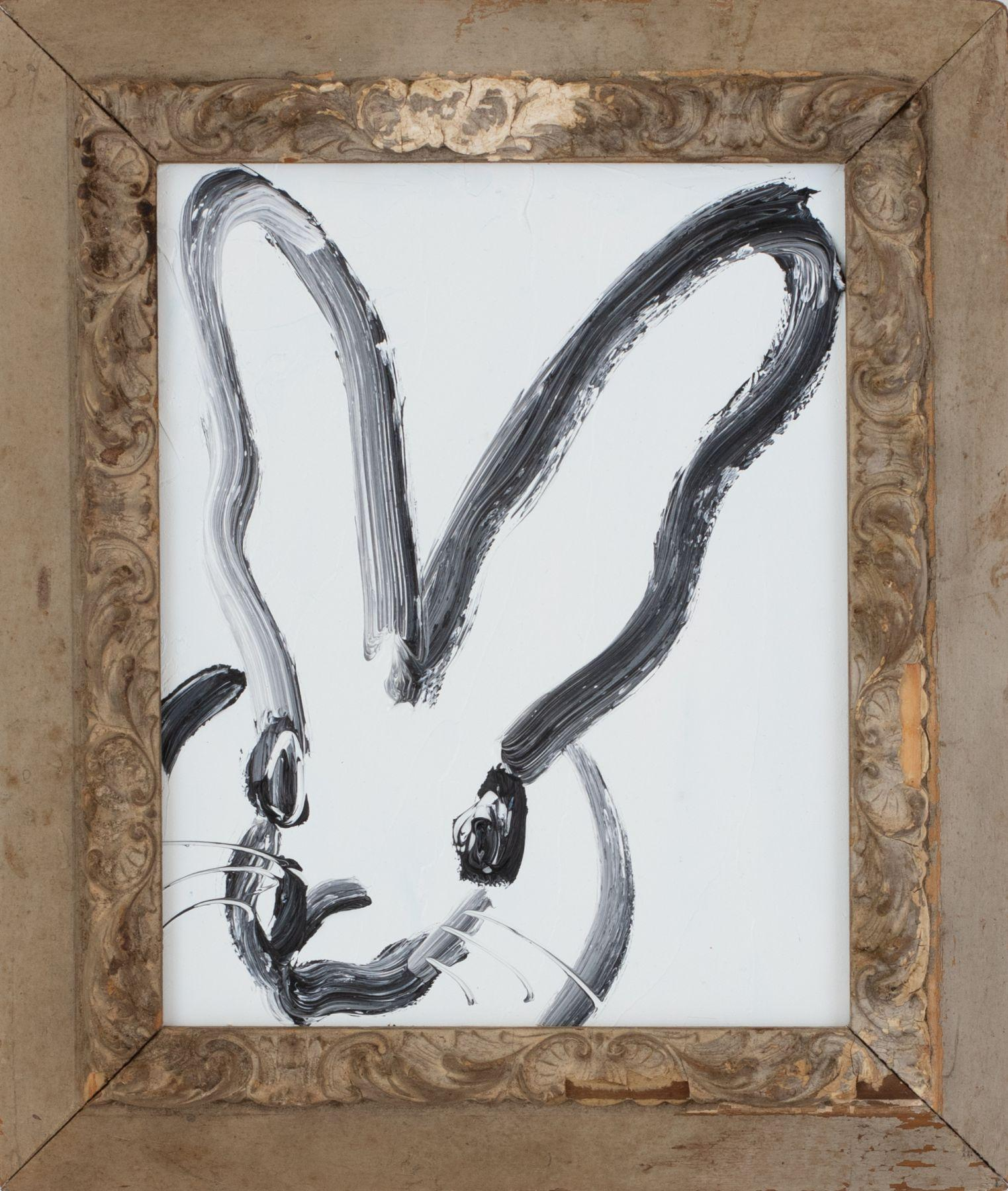 "Hunt Slonem ""Bunny on White"", Oil Painting on Wood Board in Antique Frame, 2019"
