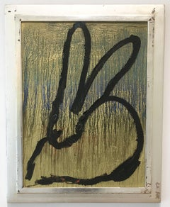 Hunt Slonem bunny painting 'Lone Ranger'
