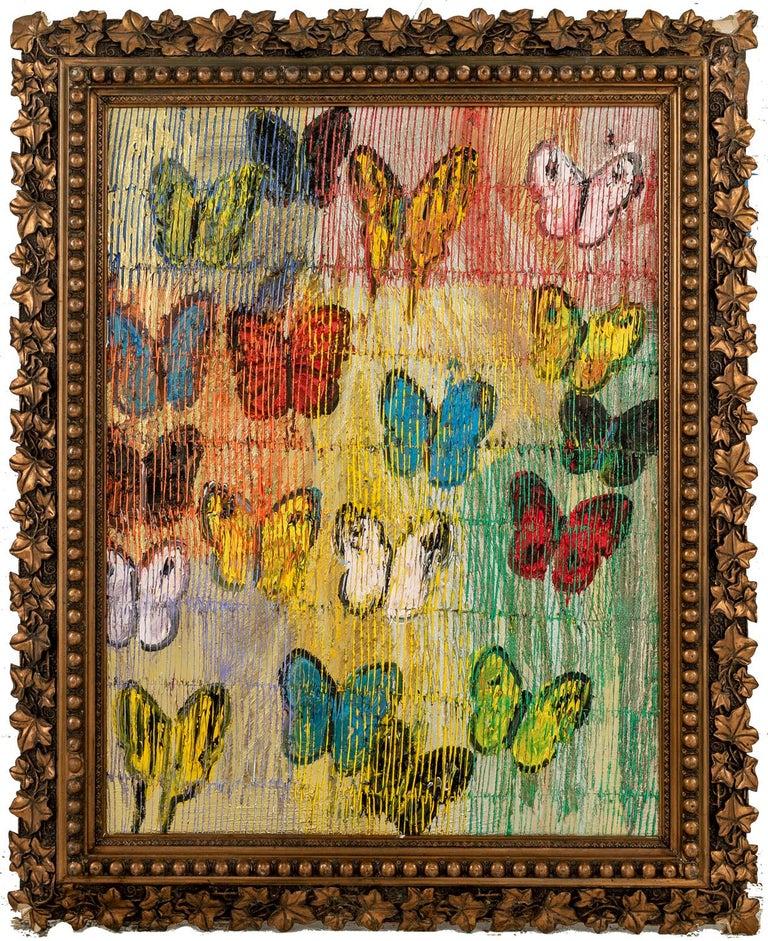 """Hunt Slonem """"Butterflies Field Day"""" Multicolored Butterflies  - Painting by Hunt Slonem"""