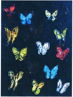 Hunt Slonem, Butterflies, Multicolored on Black, Textured Original Oil Painting
