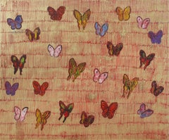 Hunt Slonem butterflies painting 'Red Parting'