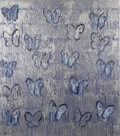 Hunt Slonem butterflies painting 'Silver Ascension'