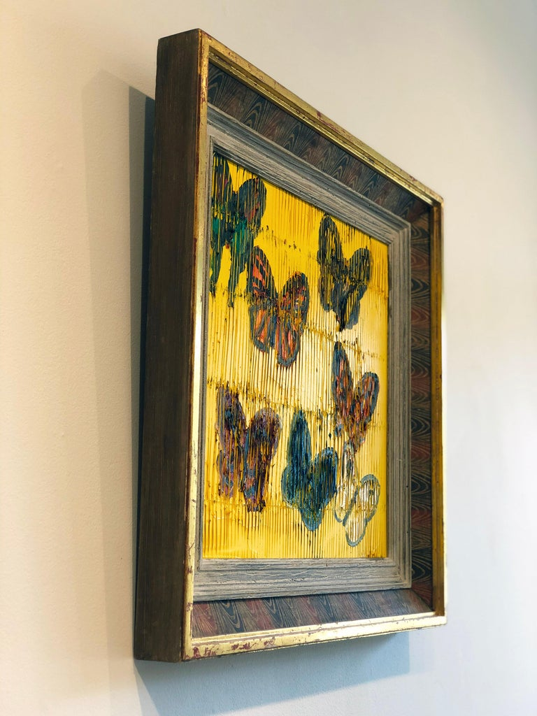 'Viceroy' 2019 by renowned New York City artist, Hunt Slonem. Oil on wood, 16 x 16 in. / Frame: 22 x 22 in. This painting features a charming portrait of butterflies. The artist's ongoing experimentation with unconventional methodologies provide the