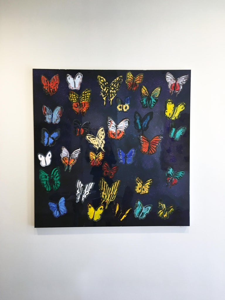 Hunt Slonem butterflies resin painting 'Butterflies' For Sale 1