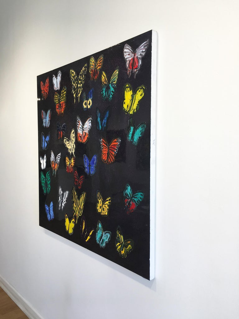 Hunt Slonem butterflies resin painting 'Butterflies' For Sale 2