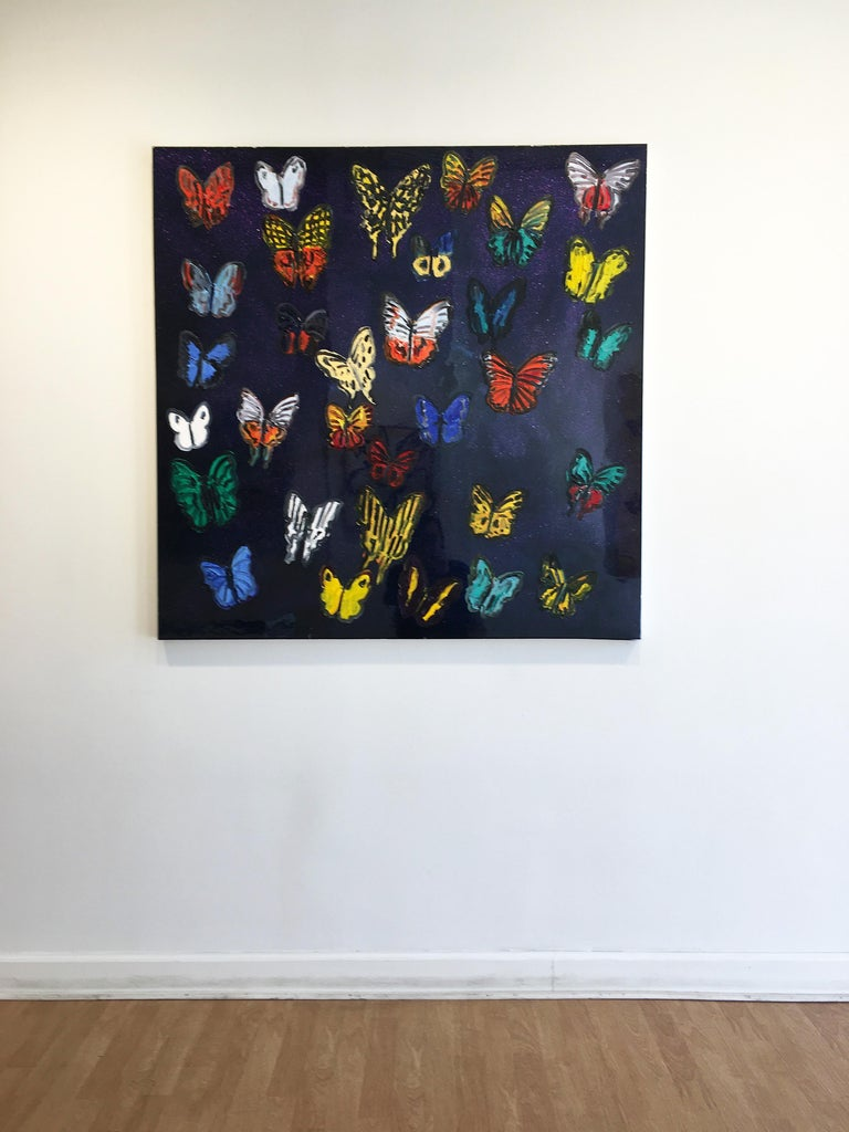 Hunt Slonem butterflies resin painting 'Butterflies' For Sale 3