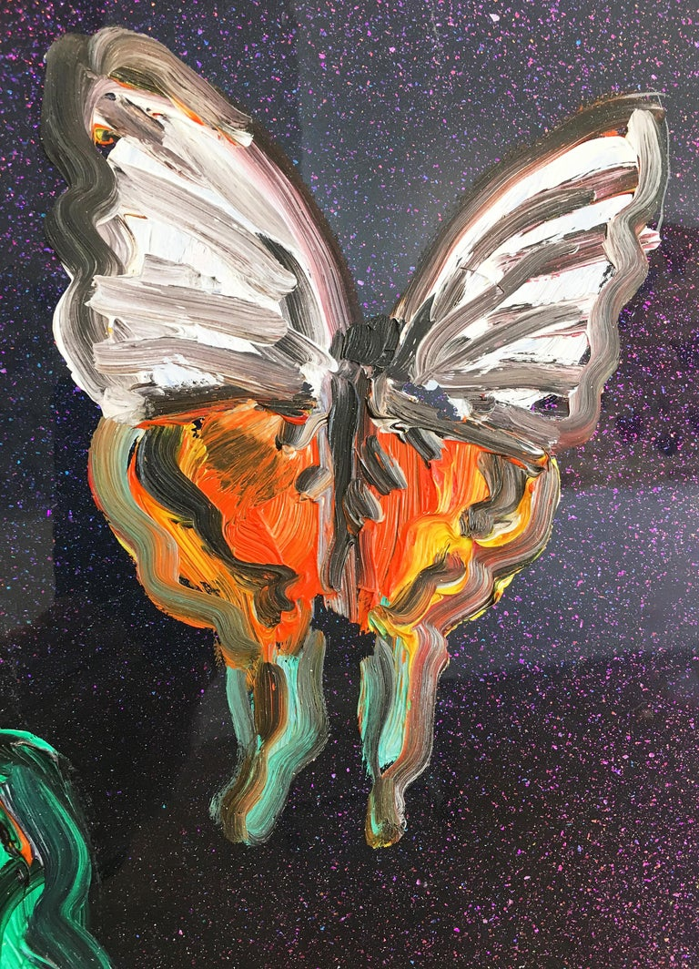 Hunt Slonem butterflies resin painting 'Butterflies' For Sale 5