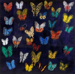 Hunt Slonem butterflies resin painting 'Butterflies'