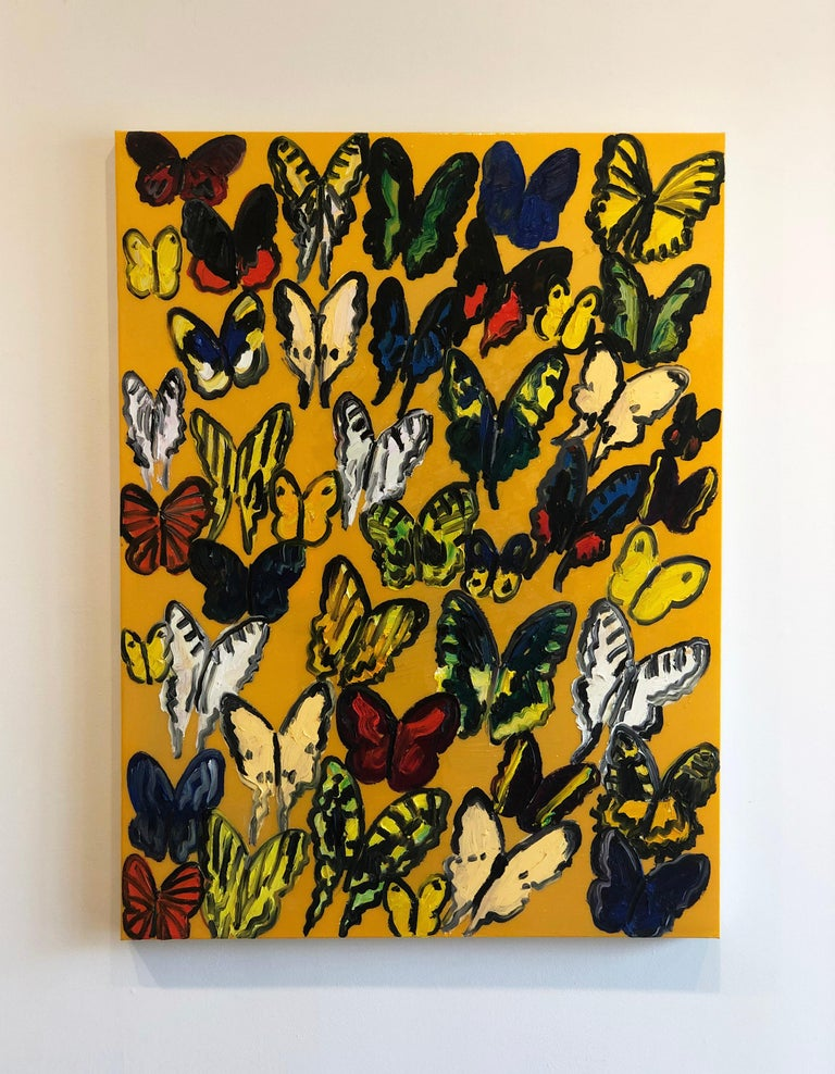 Hunt Slonem butterflies, resin painting 'Tundelella' - Contemporary Painting by Hunt Slonem
