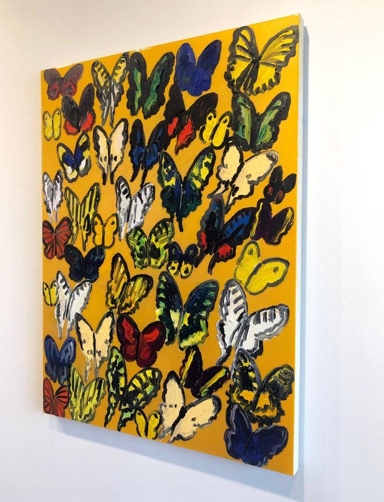 Hunt Slonem butterflies, resin painting 'Tundelella' - Brown Animal Painting by Hunt Slonem