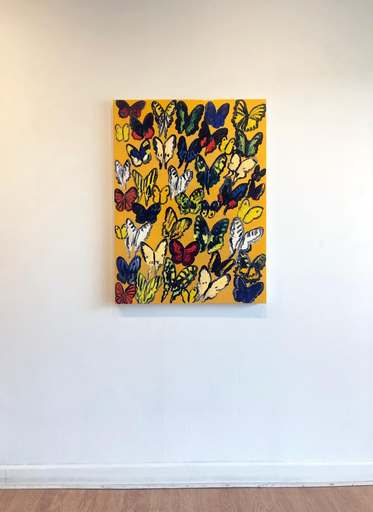 'Tundelella' 2016 by renowned New York City artist, Hunt Slonem. Oil and resin on wood, 40 x 30 in. This painting features a charming portrait of butterflies. The artist's ongoing experimentation with unconventional methodologies, such as resin,