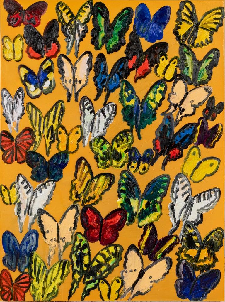 Hunt Slonem butterflies, resin painting 'Tundelella' - Painting by Hunt Slonem