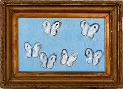 "Hunt Slonem ""Cabbage Patch Open Sky"" Baby Blue Butterflies"