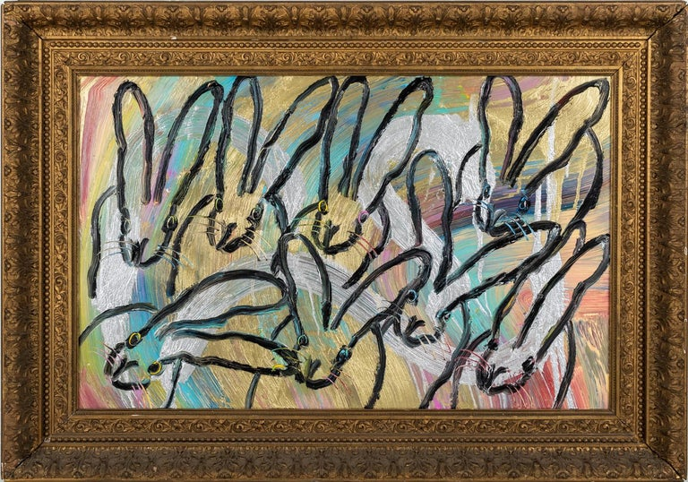 "Hunt Slonem ""Caravan"" Rainbow Metallic Bunnies - Painting by Hunt Slonem"